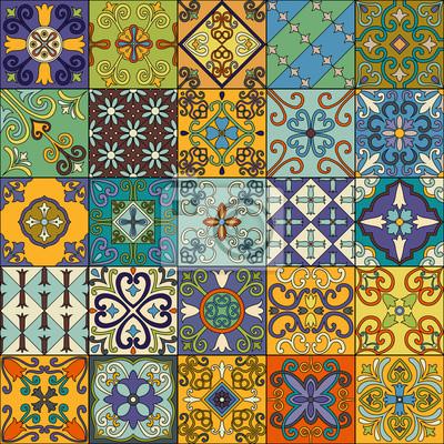 Posters Modèle sans couture avec des carreaux portugais dans le style talavera. Azulejo, ornements marocains et mexicains.