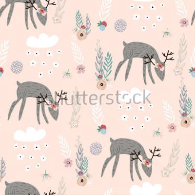 Posters Modèle sans couture avec les cerfs, les éléments floraux, les branches. Fond de bois créatif. Parfait pour l'habillement des enfants, tissu, textile, décoration de pépinière, papier d'emballag