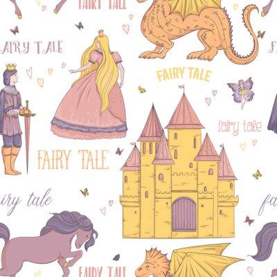 Posters Modèle sans couture avec prince, princesse, château, dragon, fée, cheval. Thème de conte de fées. Objets isolés Illustration vectorielle Vintage