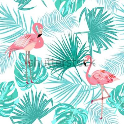 Posters Modèle sans couture de flamant rose, feuilles monstera. Feuilles tropicales de palmier et de fleurs. Fond de vecteur.