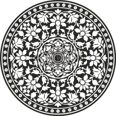 Posters Modèle traditionnel indien du noir et blanc - fleurs mandala