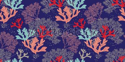 Posters Modèle vectorielle continuer dessinés à la main. Motif tendance avec coraux et autres sur fond bleu pour impression, tissus, textiles, fabrication, papiers peints. Fond de la mer.