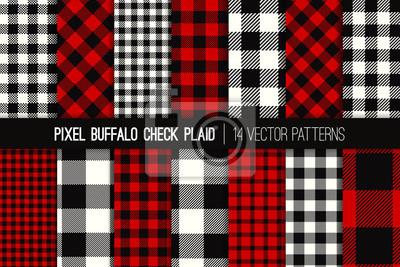 Posters Modèles vectoriels carreaux bûcheron Buffalo Check. Arrière-plans de Noël rouge, noir et blanc. Textile de tissu de chemise de flanelle de hipster. Échantillons de motifs répétés inclus.