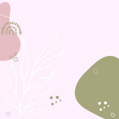 Posters Modern abstract floral art vector leaves background.