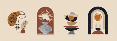 Posters Modern minimalist abstract aesthetic illustrations. Bohemian style wall decor. Collection of contemporary artistic prints.