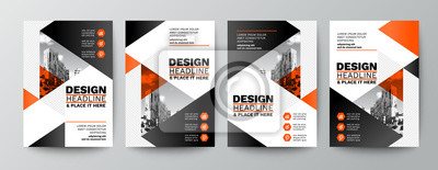 Posters modern orange and black design template for poster flyer brochure cover. Graphic design layout with triangle graphic elements and space for photo background
