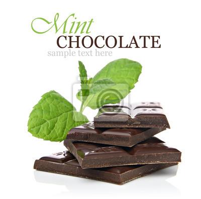 Monnaie concept de chocolat avec des morceaux de chocolat et menthe fraîche