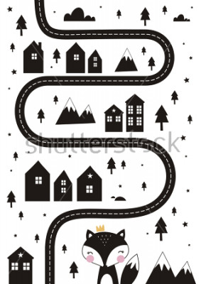 Posters Monochrome Scandinavian vector maze. Cartoon roads with house, tree and car for kids. Vector maze cartoon poster. You can use it to print on the carpet for the decor of the children's room.
