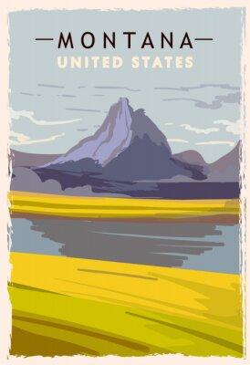 Posters Montana retro poster. USA Montana travel illustration. United States of America greeting card. vector illustration.