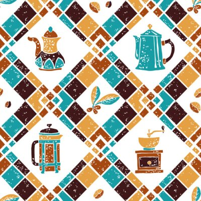 Posters Motif Argyle et Coffeemakers sans couture