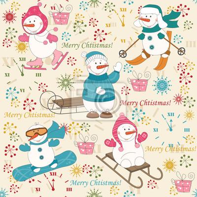 Motif coloré de Noël transparente avec bonhomme de neige de sport d'hiver