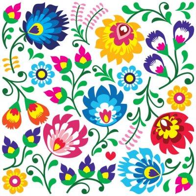 Posters Motif d'art folklorique polonaise floral sur la place - Wycinanki