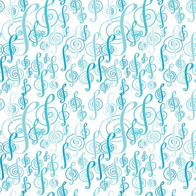 Posters Motif de musique sans couture avec une clef triple.
