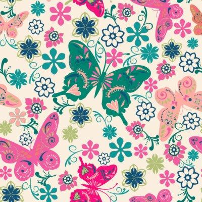 Posters motif de papillons et d'illustration fleurs-