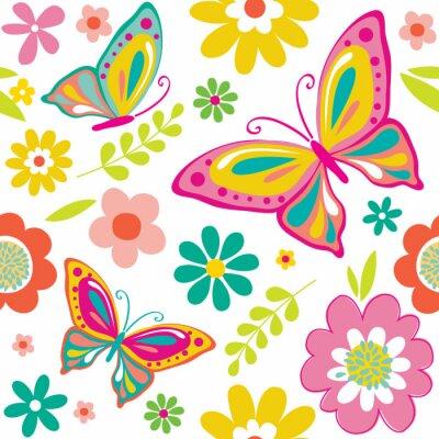 Posters Motif de ressort avec des papillons mignons appropriés pour l'enveloppe de cadeau ou le fond de papier peint. EPS 10 & HI-RES JPG Inclus