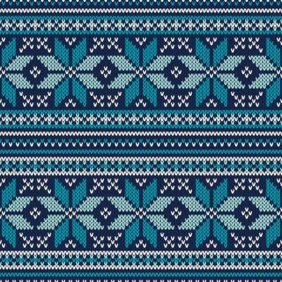 Posters Motif en tricot sans soudure de vacances d'hiver. Fair Isle Sweater Desig