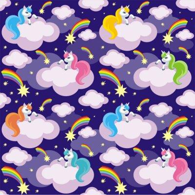 Posters Motif sans faille des enfants de fée avec l'image des licornes mignonnes. Fond coloré vecteur