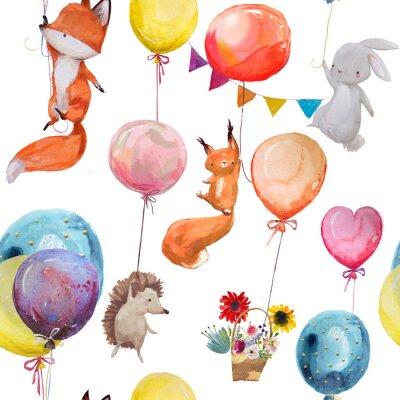 Posters Motif transparent avec des animaux avec des ballons