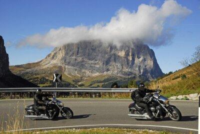 Posters Moto sur la route du col Passo Gardena