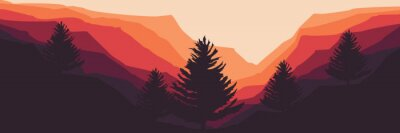 Posters mountain landscape with pine tree silhouette vector flat design good for wallpaper, background, web banner, backdrop, tourism design, and design template
