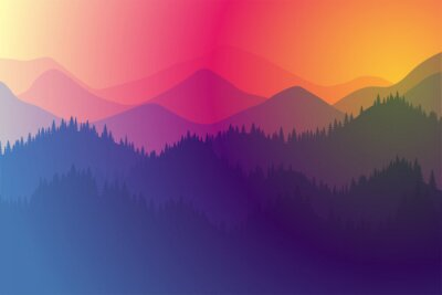 Posters Mountains range morning or evening landscape with fog and forest. Sunrise and sunset play of colors and light in mountain rocks vector horizontal eps illustration