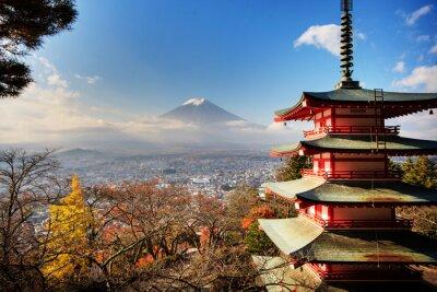 Posters Mt. Fuji avec les couleurs d'automne au Japon.