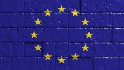 Posters Mur de briques avec drapeau peint de l'Union européenne