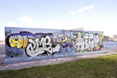 Posters Mur de graffiti à Amsterdam aux Pays-Bas