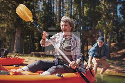 Posters Mûrir, couple, apprécier, jour, Lac, kayaking