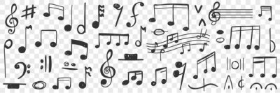 Posters Musical notes drawings doodle set. Collection of hand drawn musical notation with notes treble clef bass clef stave and notes for writing music and education isolated on transparent background