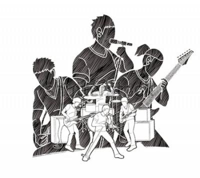 Posters Musicien jouant de la musique ensemble, groupe de musique, vecteur graphique artiste