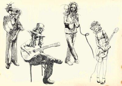 Posters musiciens - Collection de dessins à la main dans le vecteur