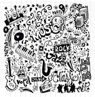 Posters Musique de fond, Main Doodle dessin
