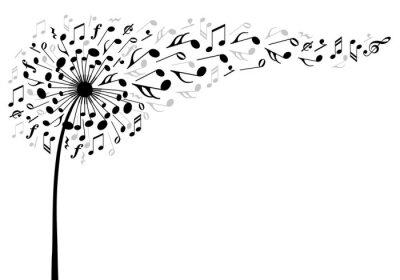 Posters musique fleur de pissenlit, illustration vectorielle