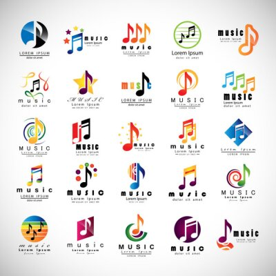 Posters Musique Icons Set - Isolated On Fond gris