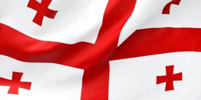 Posters National Fabric Wave Closeup Flag of Georgia