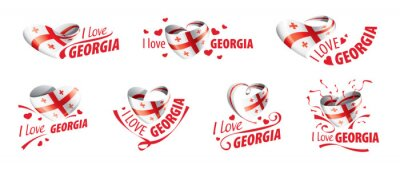 Posters National flag of the Georgia in the shape of a heart and the inscription I love Georgia. Vector illustration