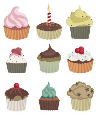 Posters Neuf cupcakes. Vector illustration de neuf délicieux petits gâteaux.