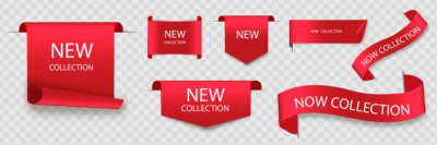 Posters New collection tags. Vector badges and labels. Paper ribbons.