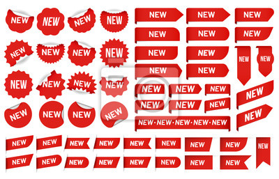 Posters New label sticker. Newest angle tag, sales banner badge stickers and new tags vector set