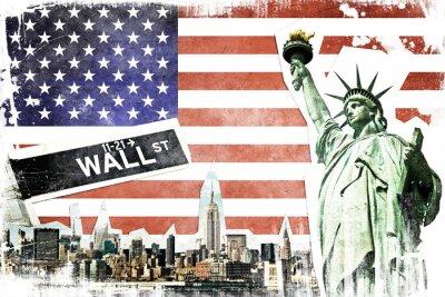 Posters New York City collage vintage, drapeau américain fond