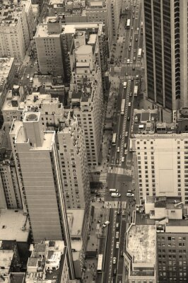 New York City Manhattan rue vue aérienne en noir et blanc