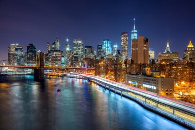 Posters New York City scène de nuit avec Manhattan skyline et Brooklin B
