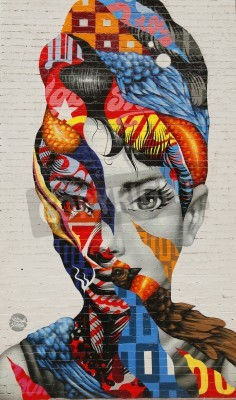 Posters NEW YORK - FEBRUARY 26, 2015: Mural art Audrey of Mulberry by Tristan Eaton in Little Italy.