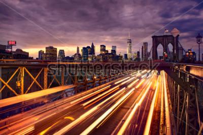 Posters Night car traffic on Brooklyn Bridge in New York City