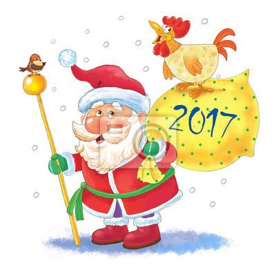 Photo De Noel Drole.Posters Noël Nouvel An Père Noël Drôle Mignon Avec Un Grand Sac Plein