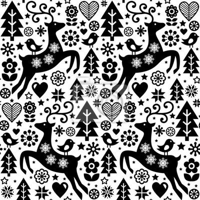 Posters Noël Vecteur Folk Style Seamless Pattern Design Scandinave En