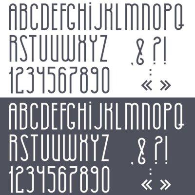 Posters Noir et blanc alphabet, les chiffres et signes de ponctuation