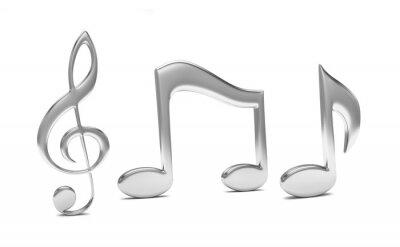 Posters note de musique 3D, sur blanc
