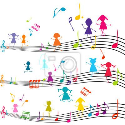 Note de musique avec des enfants jouant avec les notes de musique